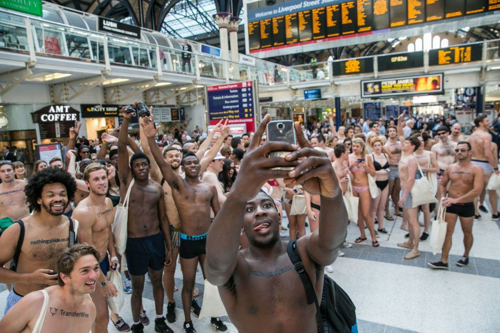 Flashing Flash Mob 5 Semi Naked Protesters Take To The Streets Of London