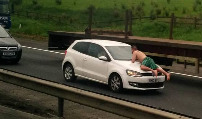 Man In His Boxers Wreaks Havoc On Motorway ad 136994319