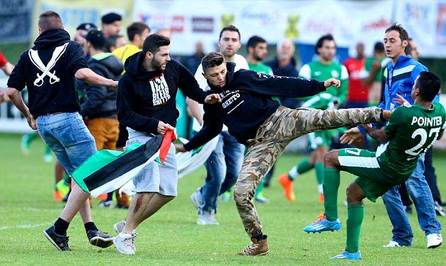 Maccabi Haifa Players Kicked And Punched By Protesters During Friendly punched kick