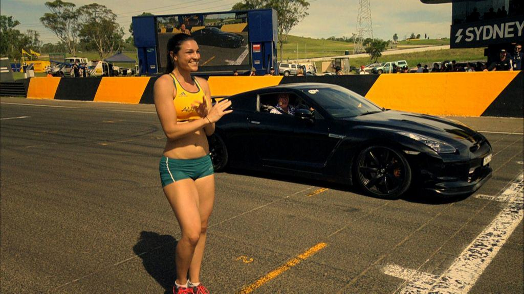 9708 Jeremy Clarkson In A Nissan GTR Vs Michelle Jenneke On Foot