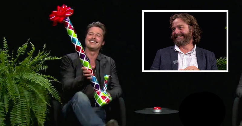 116 Zach Galifianakis Gives Brad Pitt A Bong In Latest Between Two Ferns