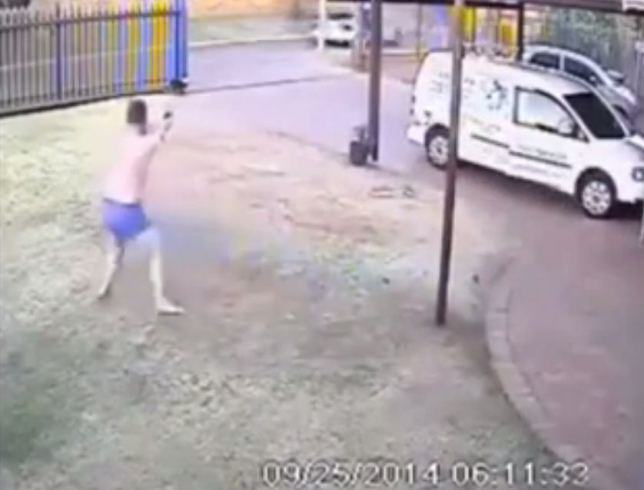 Armed Robbers Chased Off By Man In His Boxers fat man