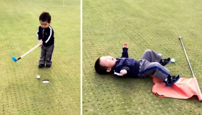 golf web thumb Little Lad Goes Crazy After Missing A Hole In Golf
