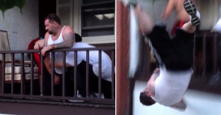 porch fb thumb Drunk Man Brutally Thrown Off Porch For Disrespecting Household