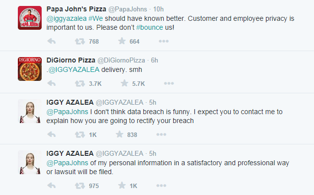 iggy azalea tweets Papa Johns Pizza Give Out Iggy Azaleas Phone Number