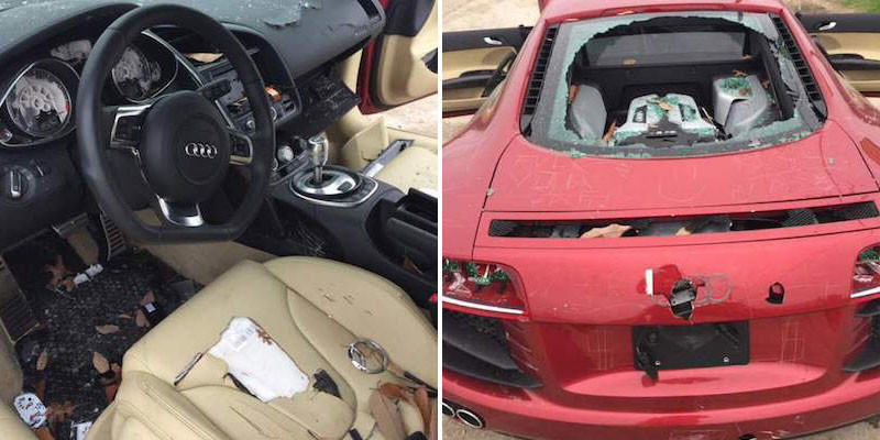 omgaudi1 Woman Completely Trashes Cheating Husbands £100K Audi R8