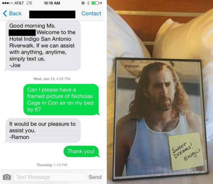 Girl Requests Nicolas Cage In Her Hotel Room, Gets Exactly That That pic 1