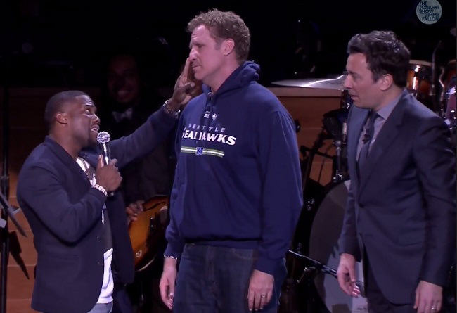 Will Ferrell And Kevin Harts Epic Lip Sync Battle On The Tonight Show will ferrell kevin hart jimmy fallon super bowl 2