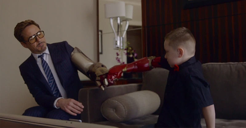 141 Robert Downey Jr Gives Little Lad An Iron Man Bionic Arm