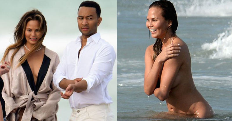 146 John Legends Girlfriend Chrissy Teigen Goes Fully Naked On Beach For Photoshoot