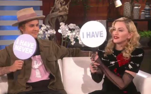 madonna Website Thumb 640x400 Justin Bieber Admits Hes A Virgin In Never Have I Ever Game