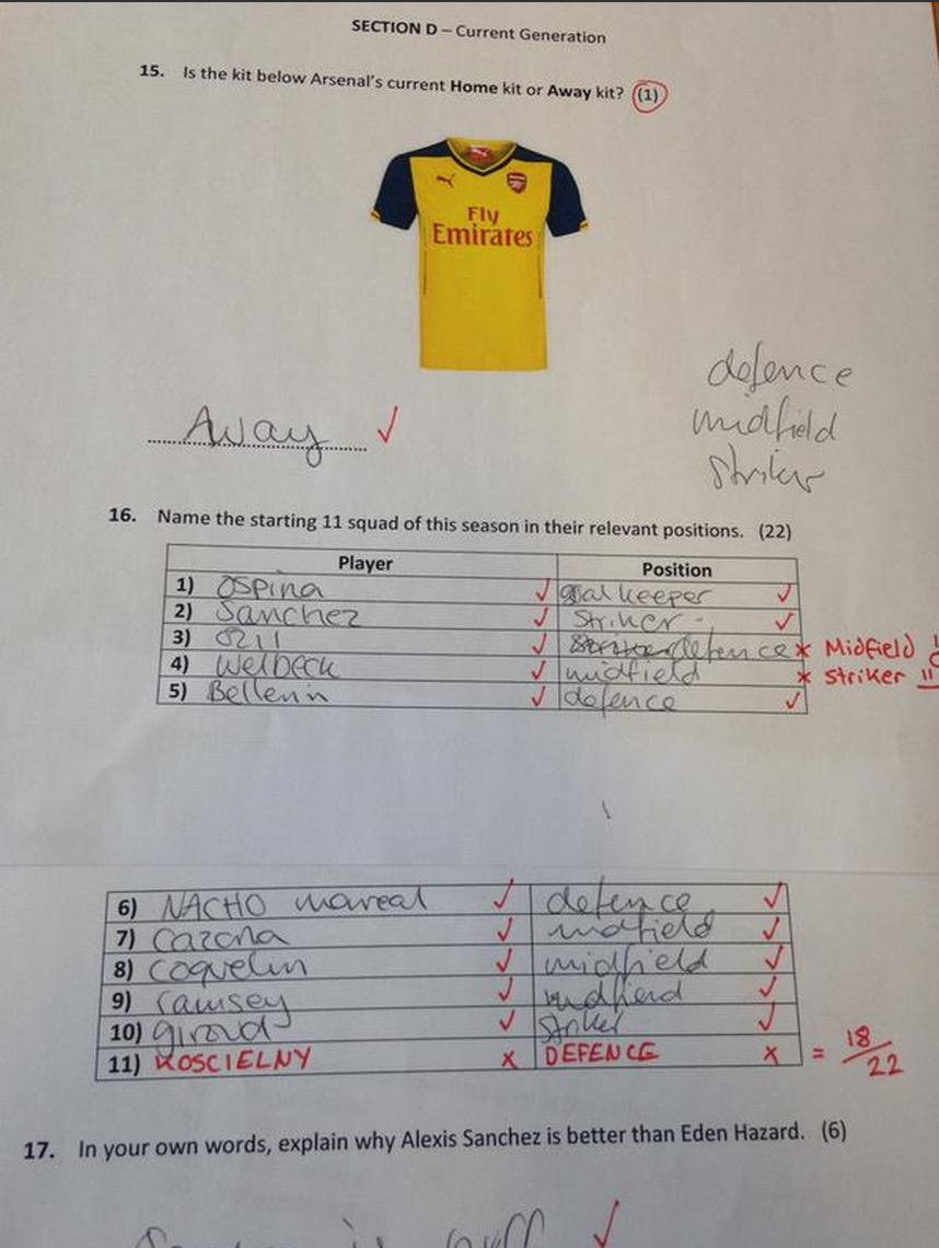 aresenal3 Lad Makes His Girlfriend Take An Arsenal Test