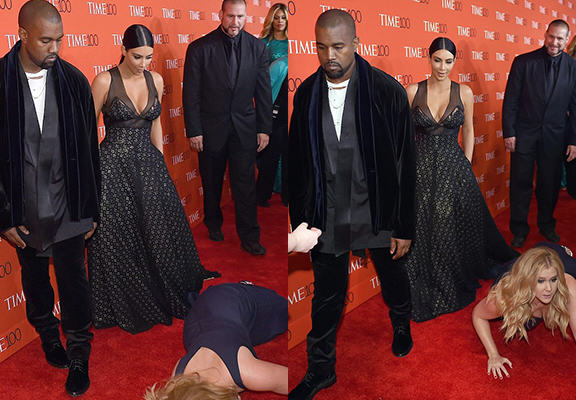 kanyeWEBTHUMBNEW2 Kanye West And Kim Kardashian Werent Impressed With Amy Schumer Falling At Their Feet