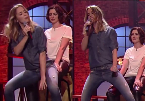 lapdanceWEBTHUMBNEW Emily Blunt Gives Anne Hathaway A Cheeky Lapdance On US TV Programme