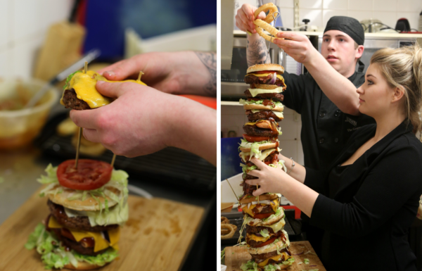 21 Restaurant Owner Creates Britains Tallest Burger   Bigger Than His Daughter
