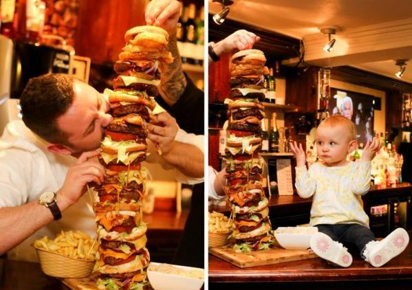 3333333333 Restaurant Owner Creates Britains Tallest Burger   Bigger Than His Daughter