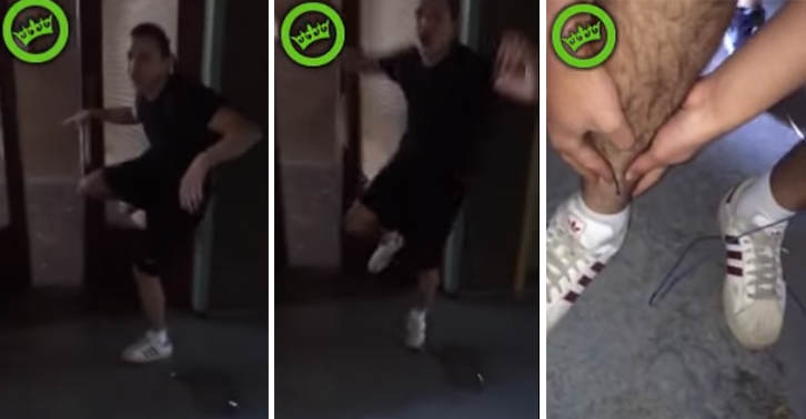 TN118 Idiot Lad Kicks A Window And Cuts His Leg Open Down To The Bone