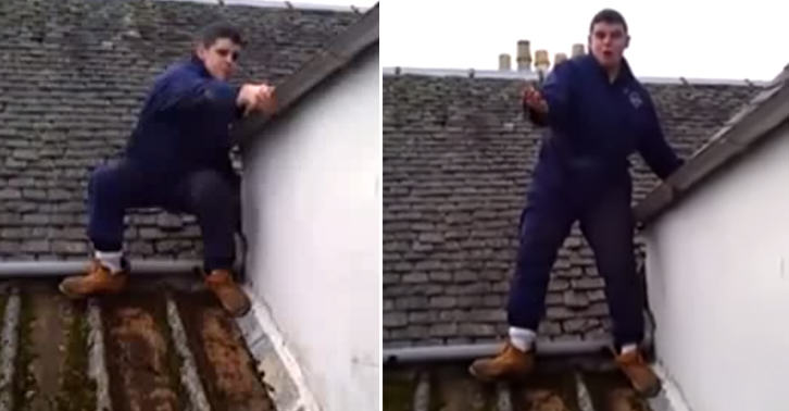 TN153 Scottish Lad Having A Breakdown While Working On A Roof Is Hilarious