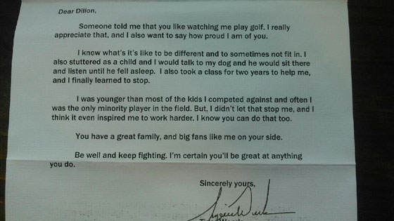 Tiger letter Tiger Woods Sends Heartfelt Message To Suicidal Fan