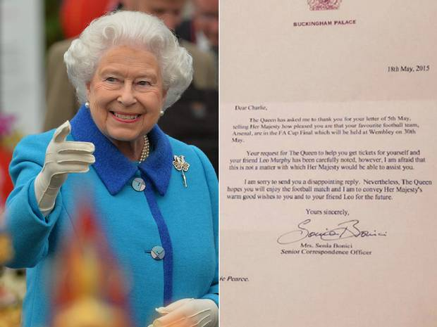 fa cup Arsenal Fan Asks The Queen For FA Cup Final Tickets, Gets Reply