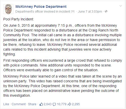 McKinney Police Department Officer Who Pointed Gun At Unarmed Teens Hands In His Resignation