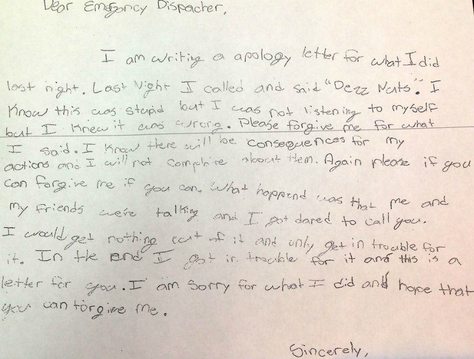 apology letter Parents Take Son To Police Station After Prank Call, Make Him Write Amazing Apology