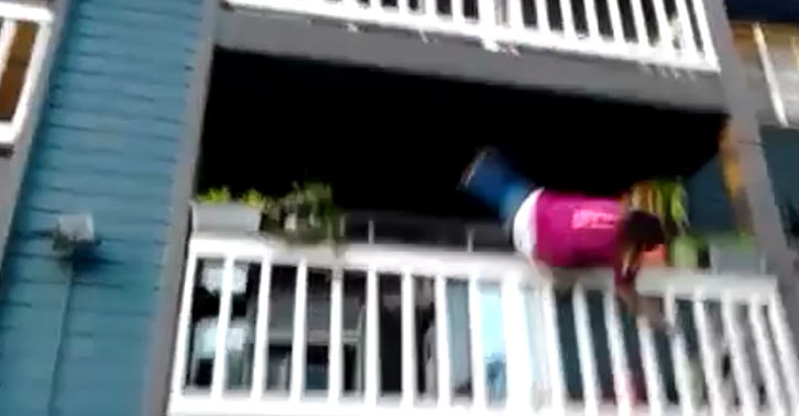 balcony 1 Girl Tries To Climb Down Balcony, Obviously Does Not End Well