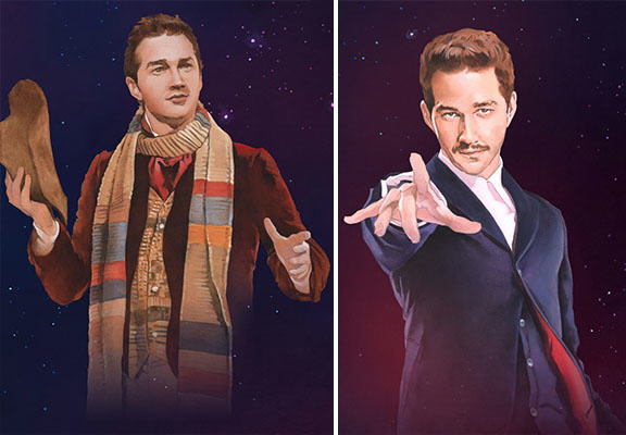 An Artist Has Painted Shia LaBeouf As All 13 Doctors From Doctor Who shia doctor who WEB
