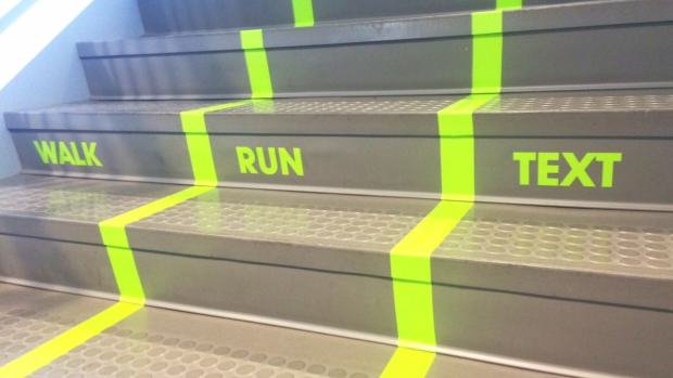 %name University Installs Texting Lanes To Help Distracted Pedestrians