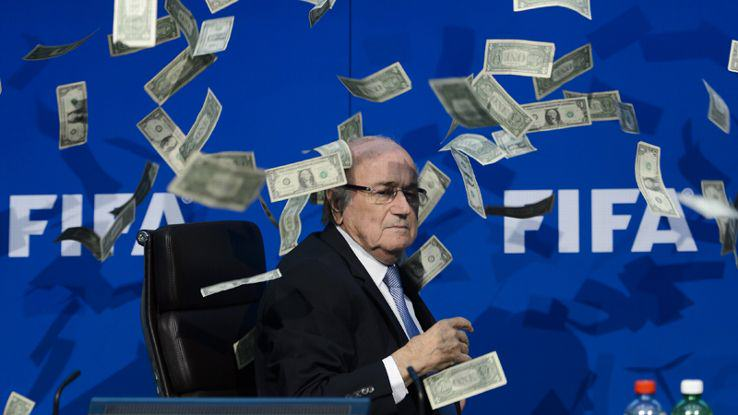 Lee Nelson Crashes FIFA Press Conference, Throws Money At Sepp Blatter %name