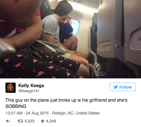 Couple Dramatically Break Up On Plane, Whole Thing Is Live Tweeted UNILAD Screen Shot 2015 08 24 at 11.59.343