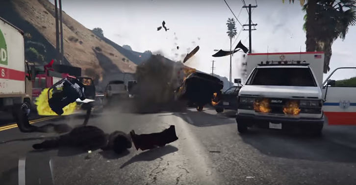 UNILAD gta34 Guy Accidentally Causes One Of The Biggest Crashes Ever In GTA 5