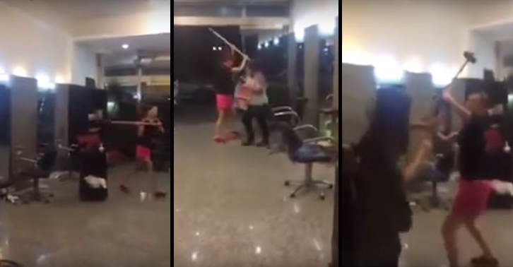 UNILAD sledge22 Hairdresser Gives Woman Bad Haircut, Woman Destroys Salon With A Sledgehammer
