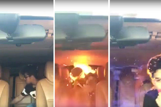UNILAD lgas6 Car Explodes Setting Men On Fire After Using Laughing Gas