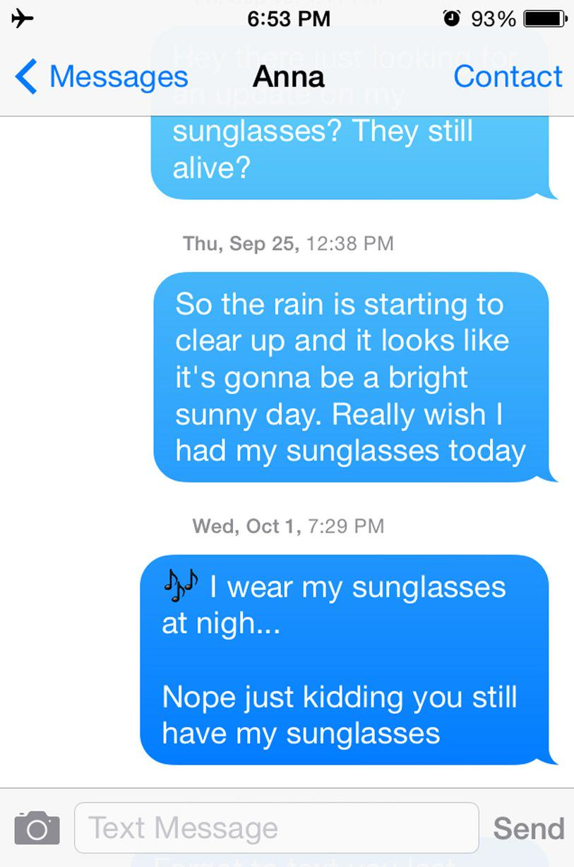 UNILAD sun24 This Guy Bombarded A Girl With Texts For A Year Asking For His Sunglasses Back
