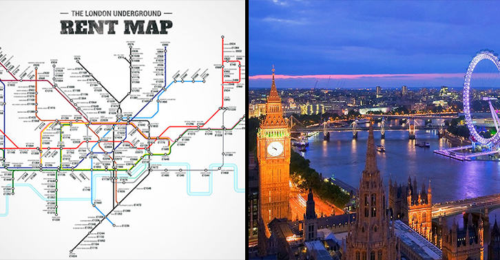 London underground rent map shows cheapest and most for Most expensive places to live in england