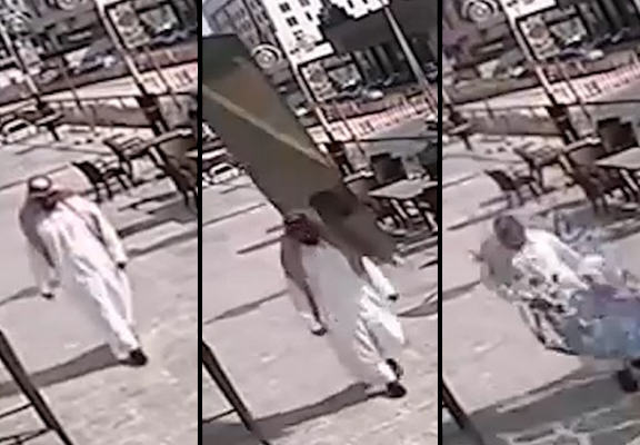 saudi glass WEB Guy Miraculously Survives After A Sheet Of Glass Falls On Him