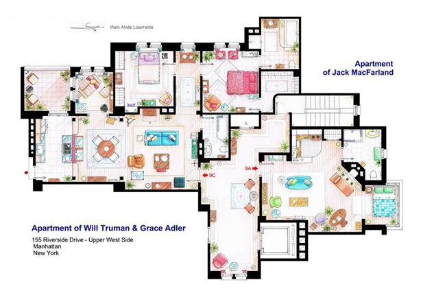 Someone Has Drawn The Floorplans Of Popular TV Show Apartments UNILAD Screen Shot 2015 10 04 at 20.19.082
