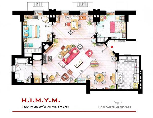 Someone Has Drawn The Floorplans Of Popular TV Show Apartments UNILAD Screen Shot 2015 10 04 at 20.20.087