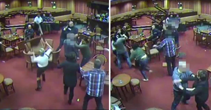 Man Stamps On His Girlfriend By Accident During Bar Brawl UNILAD brawl cctv 3012926614