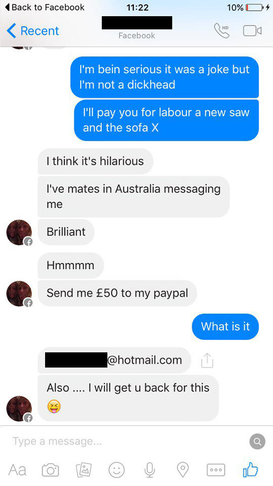 UNILAD couch troll new 1236548 Woman Tries To Sell Broken Sofa, Guy Teaches Her Epic Lesson