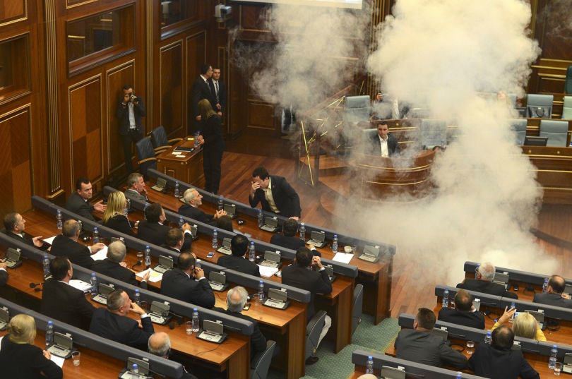 UNILAD tear gas kosovo8 Politicians In Kosovo Are Tear Gassing Each Other During Parliamentary Meetings