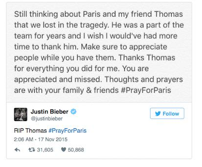 UNILAD BEEBSTWEET80527 Justin Bieber Shares Emotional Tribute To Friend Who Died In Paris Attacks