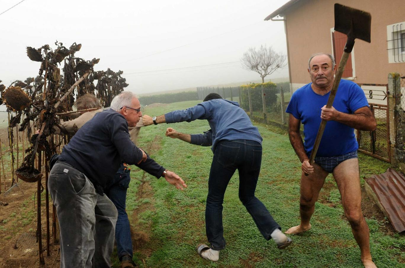 UNILAD spade attack 151590 Angry Semi Nude Locals Attack Wildlife Activists With Shovels For Dismantling Bird Traps