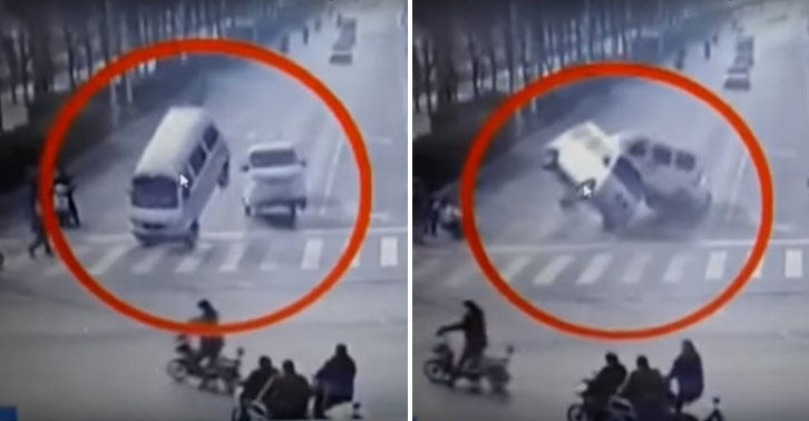 Bizarre Traffic Accident In China Causes Cars To Levitate car levitate FB