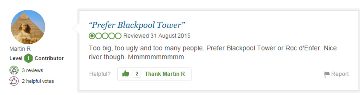 trip advisor review 3 Eight Of The Funniest Trip Advisor Reviews Of Worlds Most Famous Landmarks