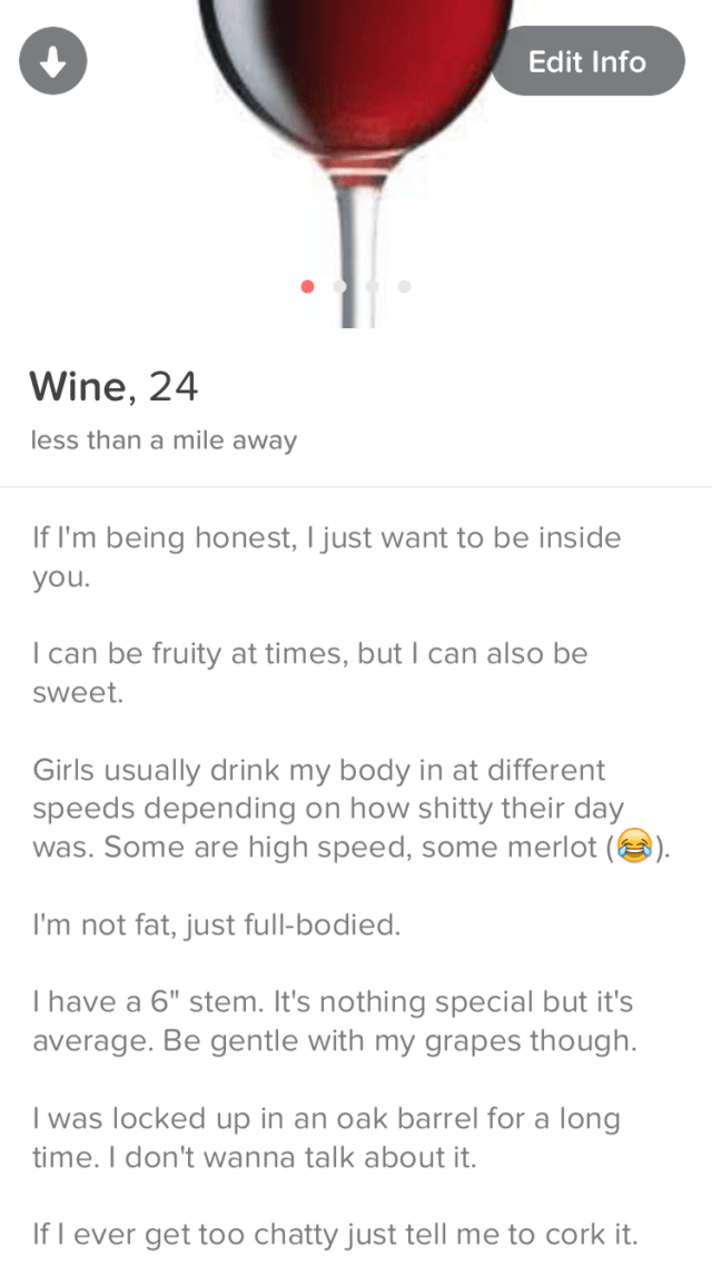 wine1 Lad Joins Tinder As A Chatty Glass Of Wine