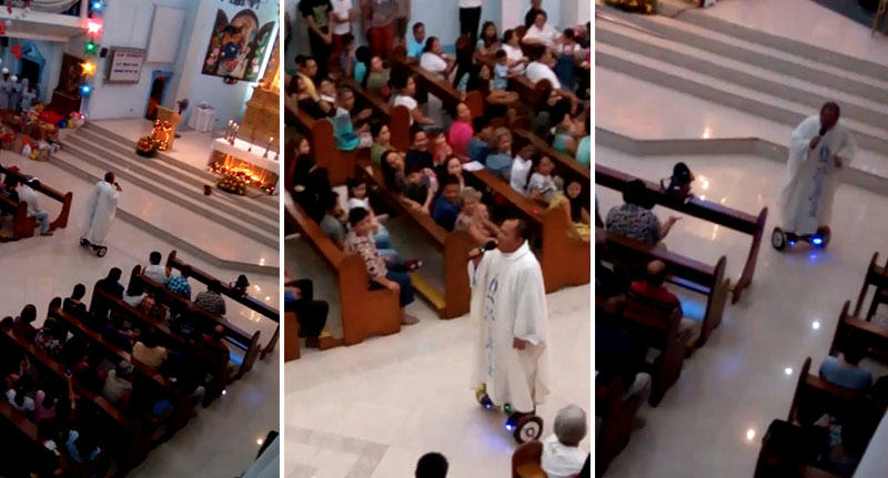 Watch Catholic Priest Deliver Swagged Out Sacred Mass On Hoverboard FaceThumb 62