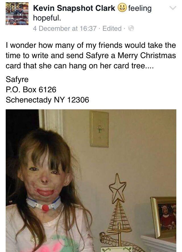 saffy Girl Who Lost Family In Arson Attack Just Wants Cards For Christmas