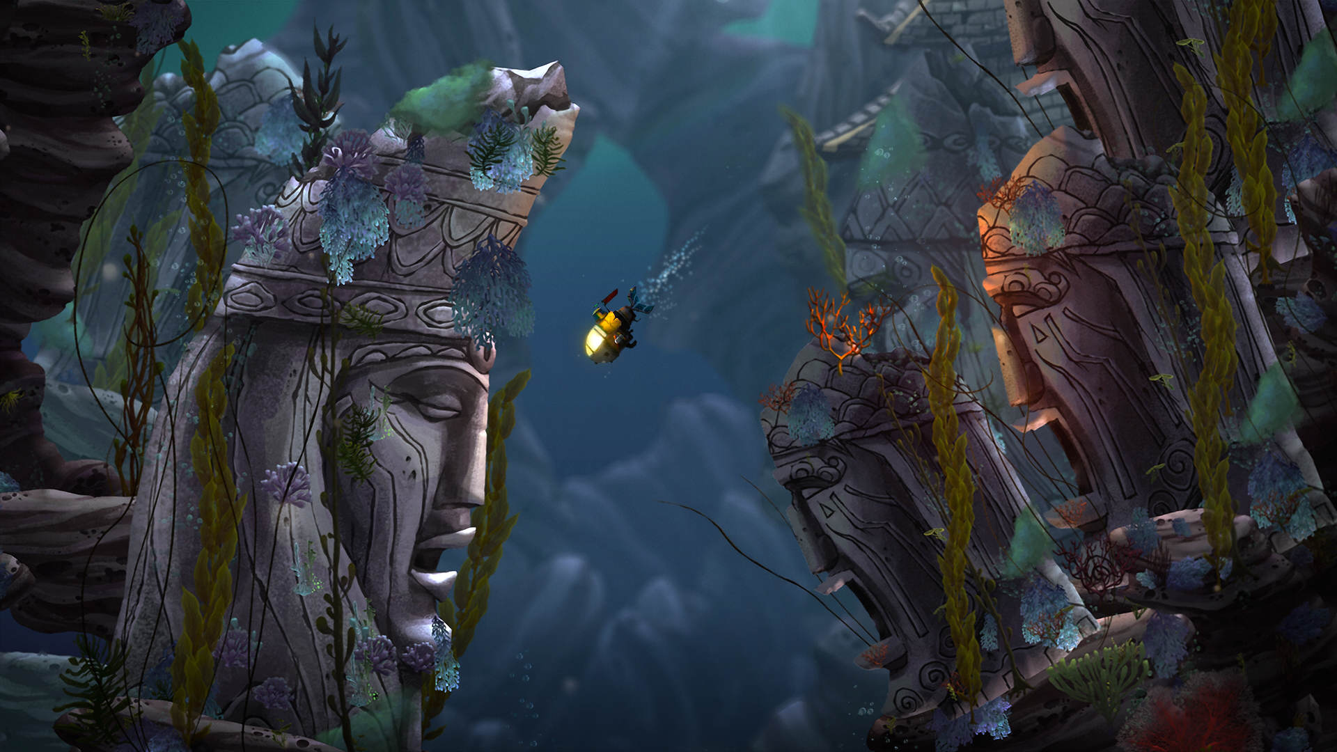 Insomniac Reveal New Game Song Of The Deep, GameStop To Publish SOTD MerrowRuins Statues